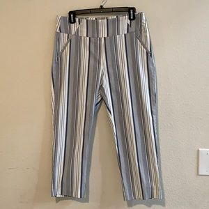 Blue and White Striped Ankle Cato Dress Pants
